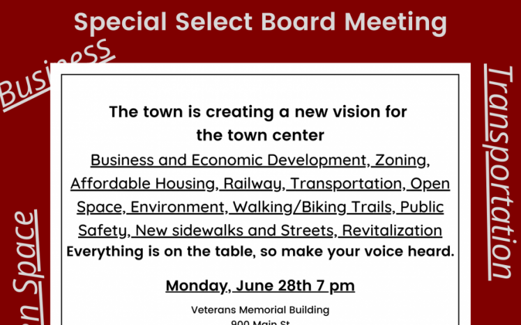 Town Center Planning Study.  Monday, June 28th 7 pm
